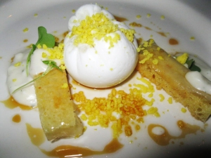 A poached duck egg with pork belly gel and brioche from Alba.