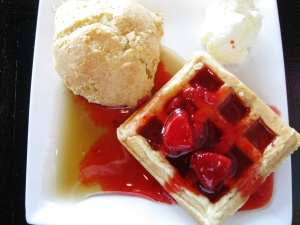 Waffles, like these from Americana, dress up weekend brunches.