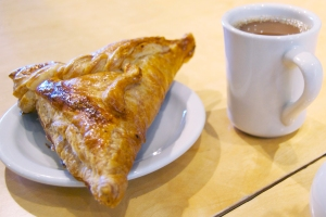 A cup of coffee and a crispy, flaky apple turnover are an excellent way to kick off a crisp fall day.