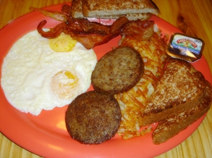 A traditional American breakfast from Mullet's.