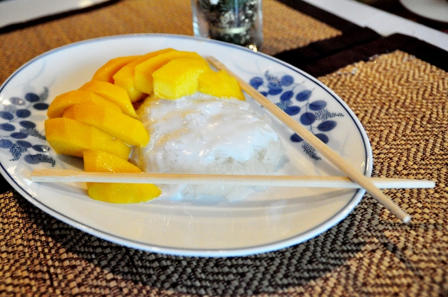 Sticky rice with mango is a traditional Thai recipe served at King and I.
