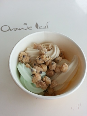 Salted caramel, peanut butter and cotton candy are among the long-lasting flavors on Orange Leaf's self-serve wall.