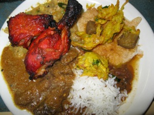 Indian buffets, like Namaste, include tandoori chicken and marvelous vegetarian dishes.