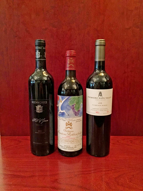 "The Henschke ""Hill of Grace"" Shiraz 2004, Chateau Mouton Rothschild 1982 and Plumpjack Winery Auction 14 Lot 161 Cabernet Sauvignon 2008 are among the most extravagant wines at 801 Chophouse."
