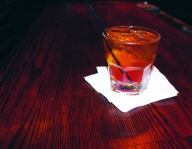 "An""Old Fashioned"" with Black Velvet from Skip's."